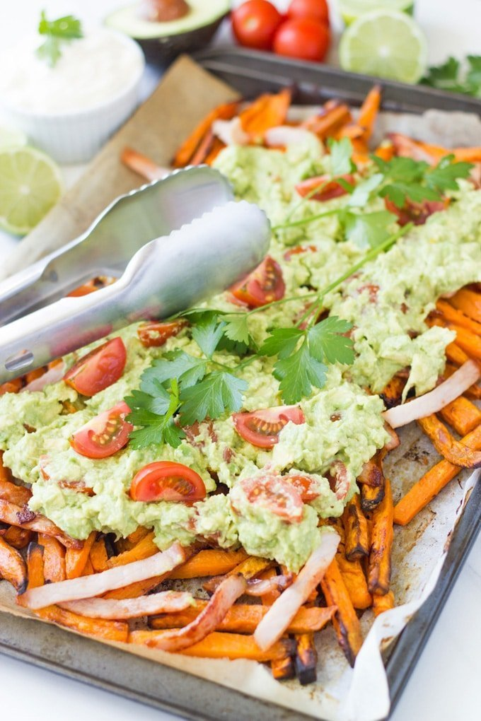 Loaded Sweet Potato Fries. Guaranteed to be a regular feature in your household. It is a low cost meal which is super easy to prepare and it tastes absolutely amazing